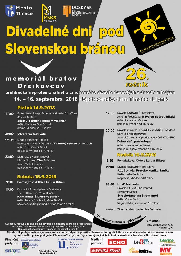 Programový plagát Divadelných dní pod Slovenskou bránou - aktualizácia:   22.8.2018